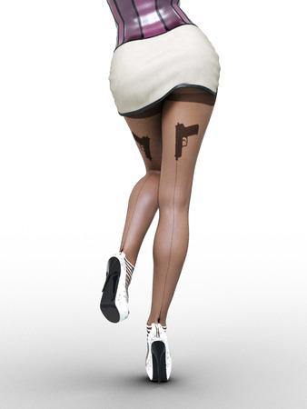 Woman detective.Dark nylon tights with guns, bullets and trajectory line.Short white skirt corset.Female domination.Sexy slim female legs dark pantyhose.Seductive pose.Conceptual fashion art.3D render Stock Photo