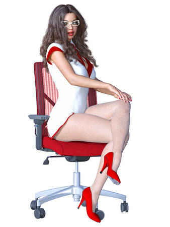 Long-haired sexy brunette secretary white pantyhose.Beautiful girl glasses sitting red office chair sexually explicit pose.Realistic 3D rendering isolate illustration. Standard-Bild