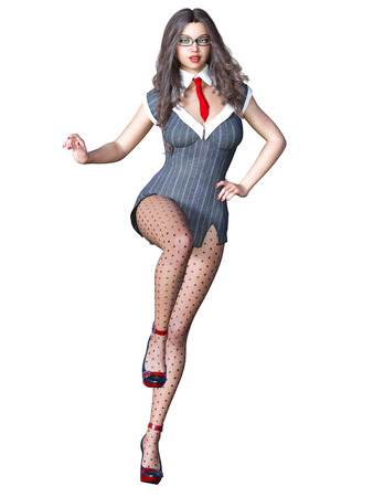 Long-haired sexy brunette secretary in black pantyhose. Beautiful girl with glasses standing sexually explicit pose. Realistic 3D rendering isolate illustration.