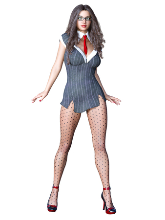 Long-haired sexy brunette secretary in black pantyhose. Beautiful girl with glasses standing sexually explicit pose. Realistic 3D rendering isolate illustration. Banque d'images - 112830579