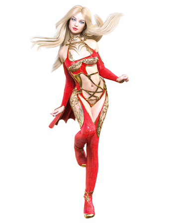 Warrior amazon woman in red raincoat and boots. Long blonde hair. Muscular athletic body. Girl standing candid provocative pose. Conceptual fashion art. Realistic 3D rendering isolate illustration.