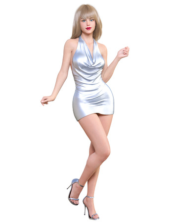 Beautiful blonde woman in short mini dress.Summer clothes collection.Bright makeup.Woman studio photography.Conceptual fashion art.Seductive candid pose.Femme fatale.3D Render.