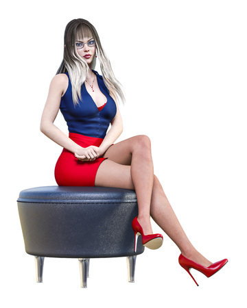 Long-haired sexy brunette secretary black dark pantyhose red shot skirt.Beautiful office girl with glasses standing sexually explicit pose.Realistic 3D rendering isolate illustration.