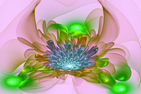 Exotic flower.3D surreal illustration. Sacred geometry. Mysterious relaxation pattern. Fractal abstract texture. Digital artwork graphic astrology magic