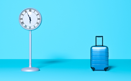 Street clock and travel baggage on pastel background. Time business wait concept. Trip, late, meeting. Minimal style. Copy space. Holiday, rest, recreation, relaxation. 3D rendering illustration Stock Photo