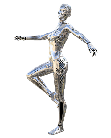 Dance robot woman. Metal shiny silver droid. Artificial Intelligence. Conceptual fashion art. Realistic 3D render illustration. Studio, isolate, high key. Reklamní fotografie