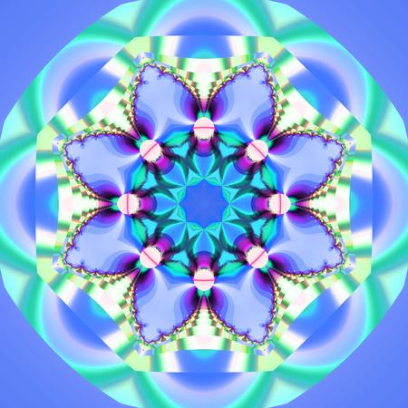 Abstract fractal bandana print. Square pattern design for pillow, carpet, rug, fabrics. Mandala design for silk neck scarf, kerchief, shawl, wrap