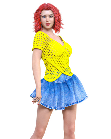 Long-haired brunette woman short summer blue denim skirt.Yellow light transparent mesh blouse.Beautiful girl standing sexually pose.3D rendering isolate illustration.Spring-summer clothes collection