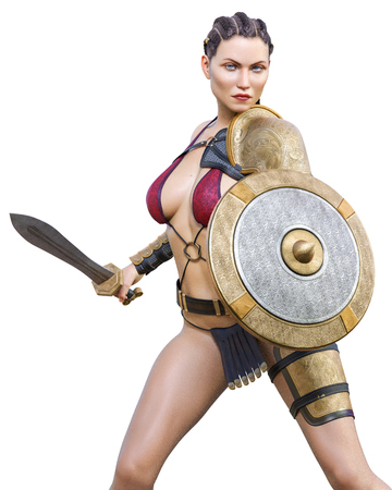 Warrior amazon woman with sword and shield. Long dark hair. Muscular athletic body. Girl standing candid provocative aggressive pose. Conceptual fashion art. Realistic 3D rendering isolate illustration. Hi key.
