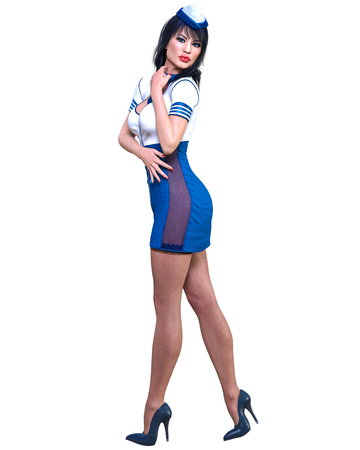 Beautiful woman Stewardess.Air hostess flight girl.Short white and blue dress, black stocking.Conceptual fashion art.Green eyes.Seductive candid pose.Realistic 3D render illustration.Isolate, high key