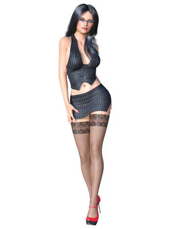 Medias negras uniformes de secretaria morena de pelo largo.Chaqueta a rayas de minifalda corta.Gafas de niña hermosa pose sexualmente explícita. Representación 3D aislar ilustración.