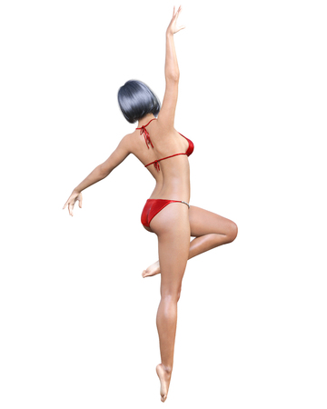 3D dancing ballet beautiful summer beach black hair quads woman red swimsuit bikini.Summer rest.Conceptual fashion art.Seductive candid pose.Render illustration.Summer clothes collection.Isolate Stock Photo