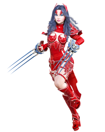 Warrior amazon woman sword and metal blade.Long dark hair.Elven warrior.Comic hero.Muscular athletic body.Girl standing aggressive pose.Conceptual fashion art.3D rendering isolate illustration Stock Illustration - 120645231