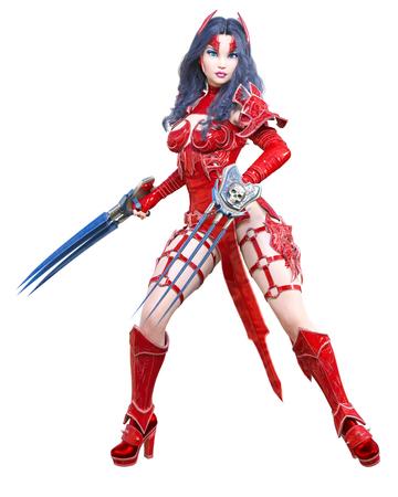Warrior amazon woman sword and metal blade.Long dark hair.Elven warrior.Comic hero.Muscular athletic body.Girl standing aggressive pose.Conceptual fashion art.3D rendering isolate illustration Stock fotó