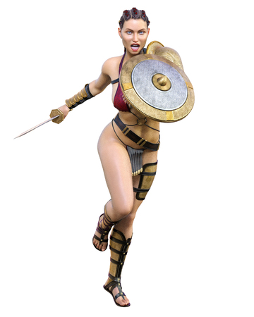 Warrior amazon woman sword and shield. Long dark hair. Muscular athletic body. Girl standing candid aggressive pose. Conceptual fashion art. Realistic 3D rendering isolate illustration