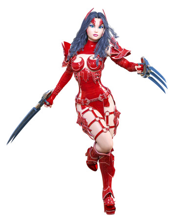 Warrior amazon woman sword and metal blade.Long dark hair.Elven warrior.Comic hero.Muscular athletic body.Girl standing aggressive pose.Conceptual fashion art.3D rendering isolate illustration Stock Photo