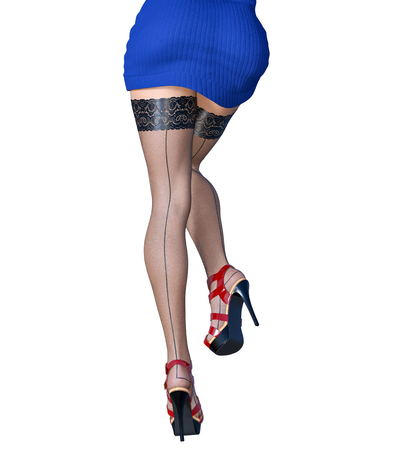 2581b33bc3e9e Beautiful long slender sexy female legs short blue skirt stockings.Outerwear  Spring Autumn Clothing.