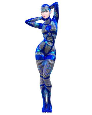Cyborg droid robot woman futuristic metallic neon suit.Squama armor.Extravagant fashion art.Girl standing candid provocative pose.Realistic 3D rendering isolate illustration.Comic hero.