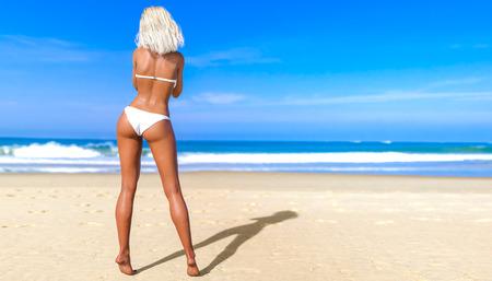 3D beautiful sun-tanned woman white swimsuit bikini on sea beach. Summer rest. Blue ocean background. Sunny day. Conceptual fashion art. Seductive candid pose. Realistic render illustration. 写真素材