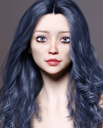 Portrait beautiful pretty young girl with blue eyes and red lips.Soft skin.Dark long hair.Freckles on face.Bright makeup.Realistic 3D render illustration