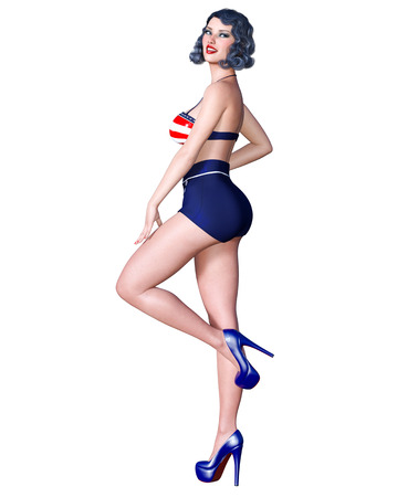 3D beautiful young attractive pin up girl vintage.Shorts and bra.Woman studio photography.High heel.Conceptual fashion art.Seductive candid pose.Realistic render.Summer collection clothes Imagens