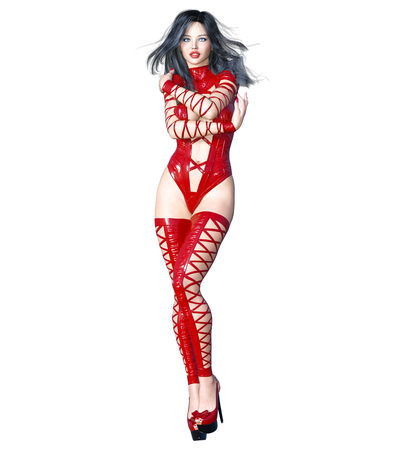Tall sexy woman in minimalist extravagant sexy red latex lingerie. Thongs bra strap and panties. Conceptual fashion art. Seductive candid pose. Realistic 3D render illustration. Studio, high key.