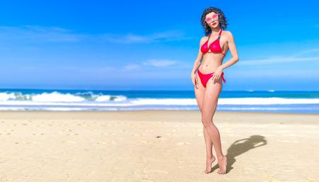 3D beautiful sun-tanned woman swimsuit bikini sea beach.Girl in sunglasses.Summer rest.Blue ocean background.Sunny day.Conceptual fashion art.Seductive candid pose.3D render illustration.