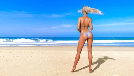 3D beautiful sun-tanned woman swimsuit bikini on sea beach. Summer rest. Blue ocean background. Sunny day. Conceptual fashion art. Seductive candid pose. Realistic render illustration.