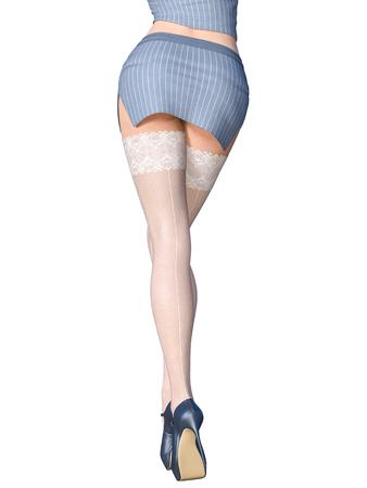Belles longues jambes féminines minces mini jupe courte et bas blancs. Uniforme de secrétaire. Belle collection de sous-vêtements. Pose libérée provocante. Rendu 3D. Isoler. Art de la mode conceptuelle.