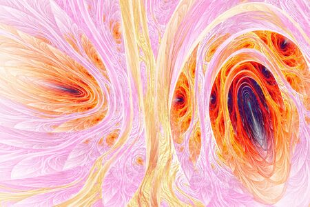 Abstract fractal shapes. Fantasy colorful chaotic fractal texture. 3D rendering illustration pattern.