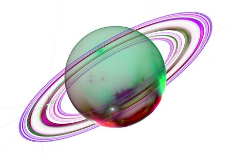 Planet Saturn.Gas rings.3d abstract computer generated fractal design.Fractal is never-ending pattern.Fractals are infinitely complex patterns that are self-similar across different scales