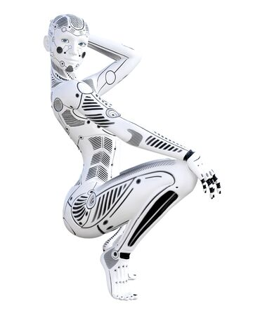 Robot woman. White metal droid. Android girl. Artificial Intelligence. Conceptual fashion art. Realistic 3D render illustration. Studio, isolate, high key. Stock Photo