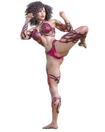 Warrior amazon woman. Long dark hair. Muscular athletic body. Girl standing candid pose. Conceptual fashion art. 3D render isolate illustration. Hi key. Stock fotó
