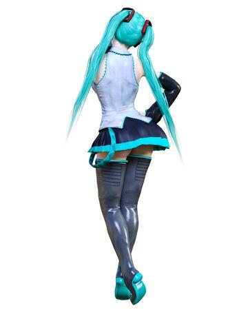 3D sexy anime japanese girl.Futuristic extravagant latex skirt clothing.Headphones with microphone.Comic cosplay hero.Cartoon, comics, manga illustration.Conceptual fashion art.Isolate for popsocket 写真素材