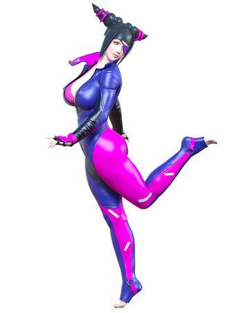3D sexy anime japanese girl.Futuristic extravagant latex clothing.Comic cosplay hero.Cartoon, comics, manga illustration.Conceptual fashion art.Isolate for popsocket