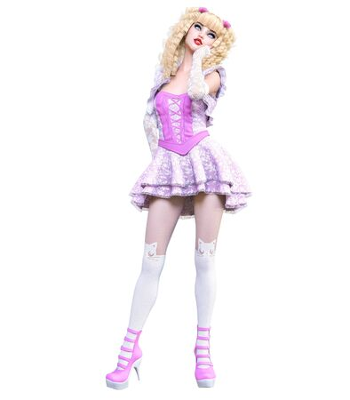 Young beautiful goth girl with doll face posing photo shoot. Short pink dress, stockings, shoes. Long blonde hair. Bright goth make up. Conceptual fashion art. Realistic 3D render illustration. Banco de Imagens