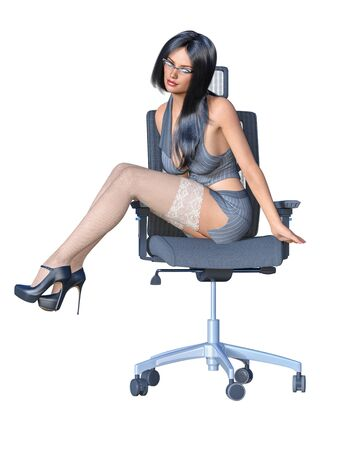 Long-haired sexy brunette secretary uniform white stocking.Short mini skirt striped jacket.Beautiful girl glasses sexually explicit pose.3D rendering isolate illustration.