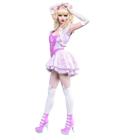 Young beautiful goth girl with doll face posing photo shoot. Short pink dress, stockings, shoes. Long blonde hair. Bright goth make up. Conceptual fashion art. Realistic 3D render illustration. Фото со стока
