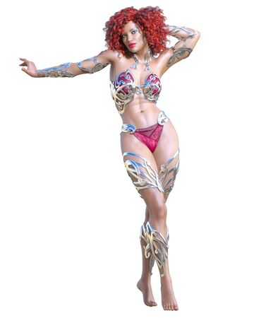 Warrior amazon woman. Long red hair. Muscular athletic body. Girl standing candid provocative pose. Conceptual fashion art. 3D render isolate illustration. Hi key. Фото со стока