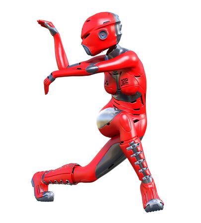 Fighting dancing aggressive robot woman.Red matte metal droid.Android girl.Artificial Intelligence.Conceptual fashion art.3D render illustration.Studio, isolate, high key.