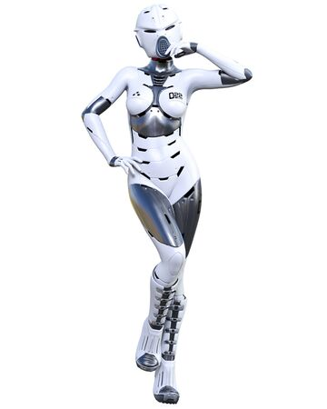 Robot woman.White matte plastic metal droid.Android girl.Artificial Intelligence.Conceptual fashion art.3D render illustration.Studio, isolate, high key.