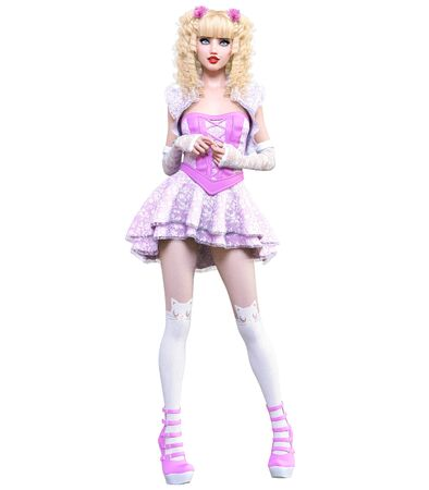 Young beautiful goth girl with doll face posing photo shoot. Short pink dress, stockings, shoes. Long blonde hair. Bright goth make up. Conceptual fashion art. Realistic 3D render illustration. Stock fotó - 130122275