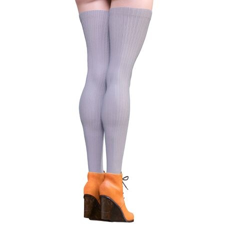 Beautiful female legs woolen leggings and half-beads. Sexy slim female legs boots. Autumn-Spring Collection. Seductive pose. Conceptual fashion art. 3D render illustration Stock fotó
