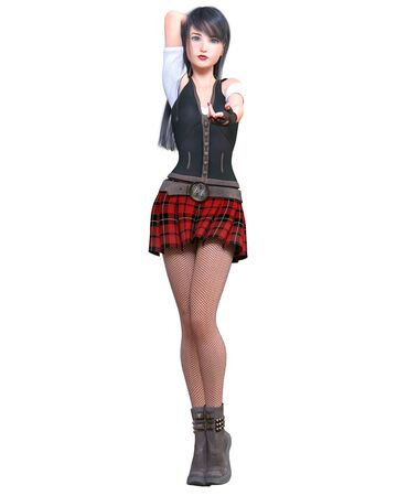 Beautiful young asian woman posing photo shoot. Short red skirt cage, dark stockings, black boots.Long hair.School japanese sexy uniform.Conceptual fashion art.3D render illustration.