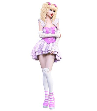 Young beautiful goth girl with doll face posing photo shoot. Short pink dress, stockings, shoes. Long blonde hair. Bright goth make up. Conceptual fashion art. Realistic 3D render illustration. Stock fotó - 130122394