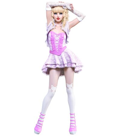 Young beautiful goth girl with doll face posing photo shoot. Short pink dress, stockings, shoes. Long blonde hair. Bright goth make up. Conceptual fashion art. Realistic 3D render illustration. Stock fotó - 130122412