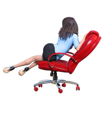 Long-haired sexy brunette secretary in mini skirt.Beautiful girl sitting office leather chair sexually explicit pose.Secretary uniform.Beautiful underwear collection.3D rendering isolate illustration Stock fotó - 130122439