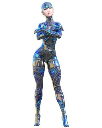 Cyborg droid robot woman futuristic metallic neon suit.Squama armor.Extravagant fashion art.Girl standing candid provocative pose.3D rendering isolate illustration.Comic hero. Stock fotó