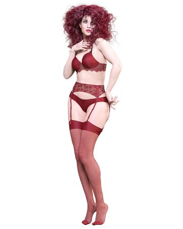 3D Beautiful sexy female legs red lingerie and stockings.Woman studio photography.High heel.Conceptual fashion art.Seductive candid pose.Render isolated illustration.Summer intimate clothes.