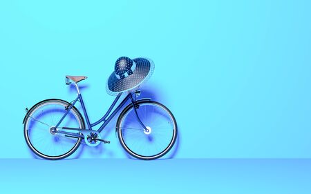 Ecological urban transport. Vintage bicycle in the room against wall. Studio photography. Copy space. Women's hat on the steering wheel. 3D render bike conceptual illustration. 免版税图像